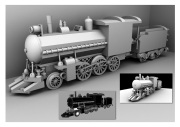 3D model of a toy train - Ambient Occlusion