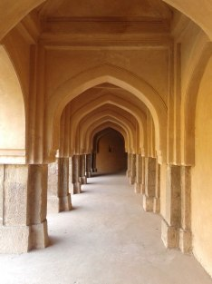 The corridors along the side of the well