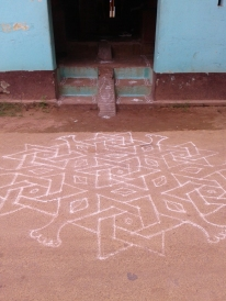 Kolam outside the Komal house